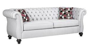 Canadian Made 5200 Tufted Fabric Sofa With Toss Pillows (AC1117)