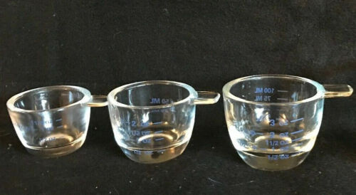 3 Clear Glass w/Measurements Stacking Measuring Cups,