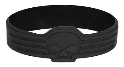 Harley-Davidson Debossed Linear Willie G Skull Silicone Wristband, Black WB02730