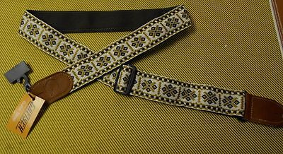 GRETSCH GUITARS 1960's style WHITE BROWN WOVEN GUITAR STRAP G BRAND 6120 on Rummage