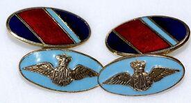 STUNNING 1940's OFFICER'S RAF ROYAL AIR FORCE CUFFLINKS LAMBOURNES BIRMINGHAM LTD GT COND MADE ENG