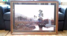 """Scottish"" landscape of Stag at the riverside - quality framed print."