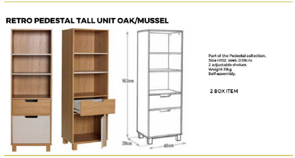 "RETRO PEDESTAL TALL UNITOAKin Bradford, West YorkshireGumtree - Brand new item. Send me a message if you need to know anything. ""Part of the Pedestal collection. Size H162, W49, D39cm. 2 adjustable shelves Self assembly. 2 box item. """