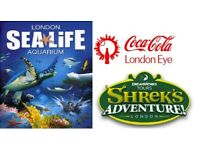 2 x ADULT TICKETS - LONDON EYE - SEALIFE AQUARIUM - SHREK'S ADVENTURE - VALUE £160 - HERE ONLY £80
