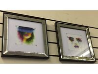 Multi Coloured Lady with Hat, Skull, & crying eyes pictures with mirror & black trim frames