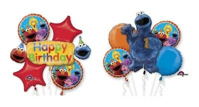 123 Sesame Street Elmo & Cookie Monster Happy Birthday 10 Foil Balloons Bouquet](Sesame Street Happy Birthday)