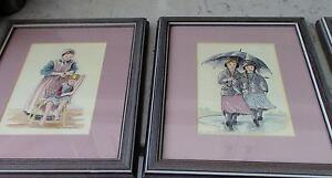 Four Beautiful Painted Watercolours, Ina Morschauser, Framed