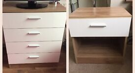 Bedroom furniture for sale, set of chest of drawers and bedside drawer