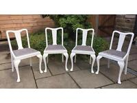 4 Chairs ~ Vintage Queen Anne Upholstered in Silver Grey Crushed Velvet