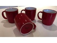 John Lewis Red Coffee cups Mugs x4