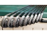 BEN SAYER RIGHT HANDED GOLF CLUB SET CONSISTING OF 9 IRONS + 2 DRIVERS (DONNAY ST. ANDREWS)