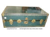 Green Covered Vintage Travel Trunk