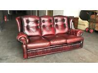 Ox blood Red leather Chesterfield highback sofa Can deliver