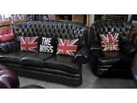 Stunning Vintage Chesterfield Spoon Back 3 Seater Sofa & Chair Green Suite Uk Delivery