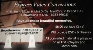 Convert Hi8,8mm,Super 8,Mini DV/DVD,VHS-C and VHS Tapes to DVD Kitchener / Waterloo Kitchener Area image 1