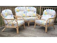 Indoor cane two seater sofa and chairs