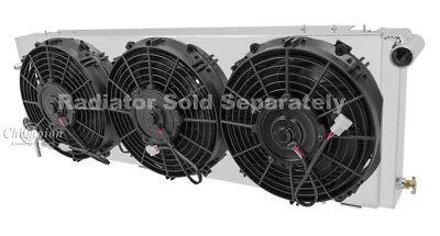 "Jeep Cherokee Custom Aluminum Radiator Fan Shroud & 3-10"" Fans 11 1/8"" x 31"" #78"