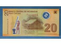 2007 ** NICARAGUA ' POLYMER ' BANKNOTE ** 20 CORDOBAS ** MINT UNCIRCULATED