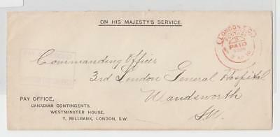 CANADA 1916 PAY OFFICE CANADIAN CONTINGENT LONDON COVER, OHMS (SEE BELOW)