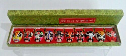 Vintage Box With 10 Mini Japanese Asian Opera Kabuki Masks