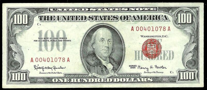 1966 $100 RED SEAL US BANK RED SEAL NOTE FR 1550 EXTREMELY FINE *