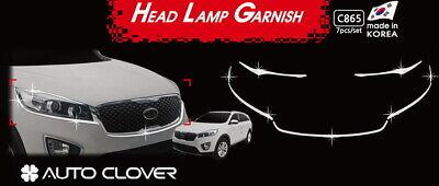 Head Lamp Garnish Chrome Molding Trim C865 7Pcs Silver for Kia Sorento 2016~2020