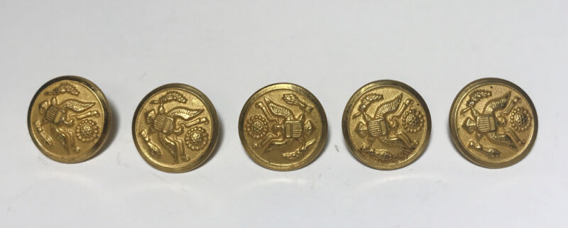 Lot of 5 US Army Eagle Great Seal Brass Buttons Waterbury CO.