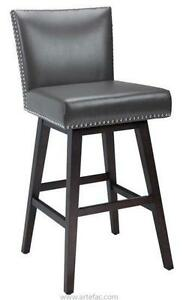 LEATHER N FABRIC BAR STOOLL KITCHEN COUNTER STOOL WITH BACK