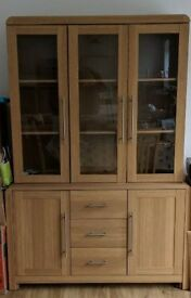 Oak Sideboard and Display Cabinet