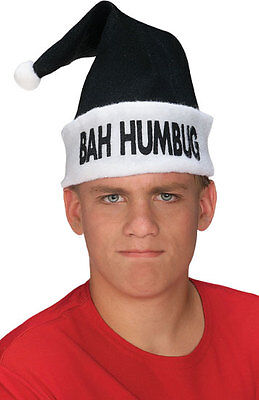 Black BAH HUMBUG Holiday Hat- Black Santa Hat with White Trim