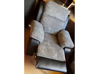 Brand New Manual Recliner Fabric Chair - Charcoal
