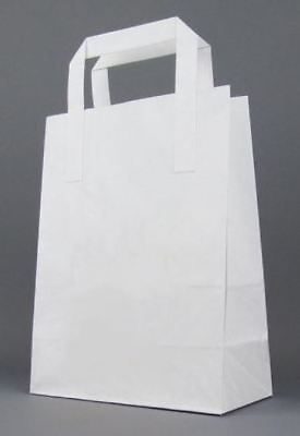 DURA KRAFT WHITE Food Take Away Carrier SOS PAPER BAG Handles - MEDIUM x 250
