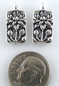 TierraCast Pewter Rectangle Charms-SILVER FLOATING LOTUS (2)