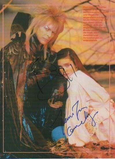 "David Bowie & Jennifer Connelly ""Die Reise ins Labyrinth"" Autogramme signed A4"