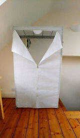 Metal frame wardrobe with white fabric zip-up cover - great condition