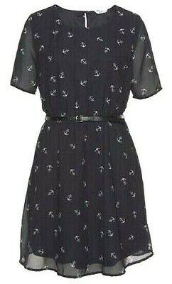 Süßes Chiffon Kleid ANKER Sommerkleid mit Gürtel MARINE 36 38 40 Neu Anker Kleid