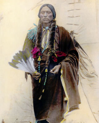 """QUANAH PARKER NATIVE AMERICAN INDIAN COMANCHE 1909 8x10"""" HAND COLOR TINTED PHOTO for sale  Oxnard"""