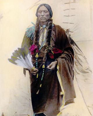 "QUANAH PARKER NATIVE AMERICAN COMANCHE 1909 11x14"" HAND COLOR TINTED PHOTOGRAPH for sale  Oxnard"