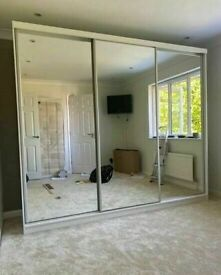 💖👌 NEW YORK 2 TO 3 DOORS SLIDING MIRRORED WARDROBE WITH ALL SHELVES+RAILS INCLUDED