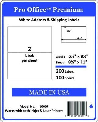 Po07 500 Premium Half Sheet Shipping Labels Self-adhesive 8.5 X 5.5 Pro Office