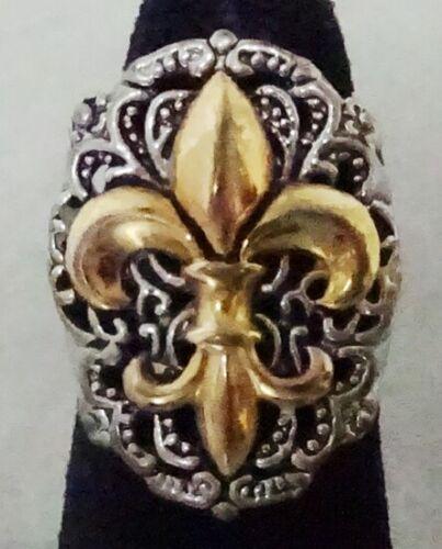 Ladies Vintage Silver & Gold Plated Fleur de Lis Ring Size 5