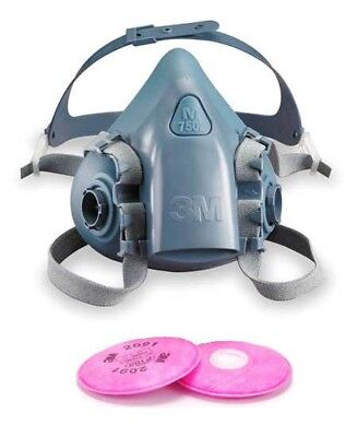 3M 7500 SERIES 7502 HALF FACE MASK REUSABLE SILICONE RESPIRATOR FILTERS INCLUDED