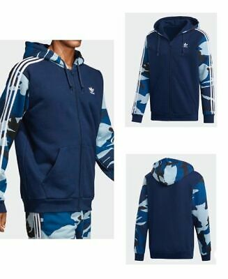 Adidas Originals Men Camouflage Navy Full Zip Trefoil Sweatshirt Hoodie - 120