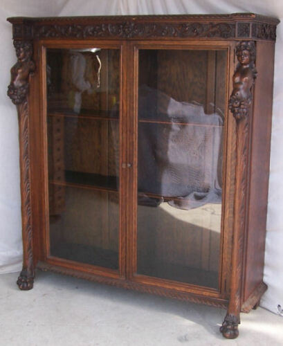 Antique Double Door Oak Bookcase with Highly Carved Maidens - RJ Horner Company