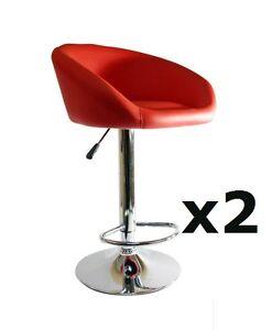 2 X Red Chrome Bar Stool Swivel Venus Breakfast Kitchen