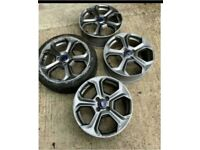 """GENUINE 17"""" FORD FIESTA MK7 8 ZETEC S St180 St alloy WHEELS AND TYRES Grey G"""