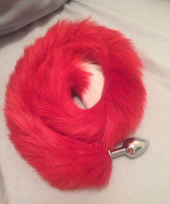 Sexy Santa Cat Tail - Red tail with - White Cat Tail