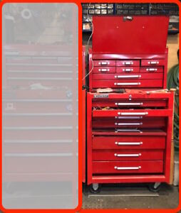 Tool chest cabinet - two pieces - 15 drawers