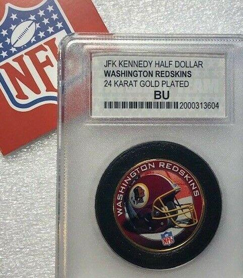 Washington redskins official nfl 24k gold plated jfk unc us half dollar 50c coin