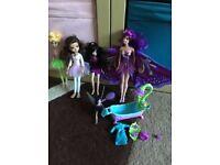 Fairy doll set, barbie fairytastic princess-pop up wings 4 other dolls& bathset